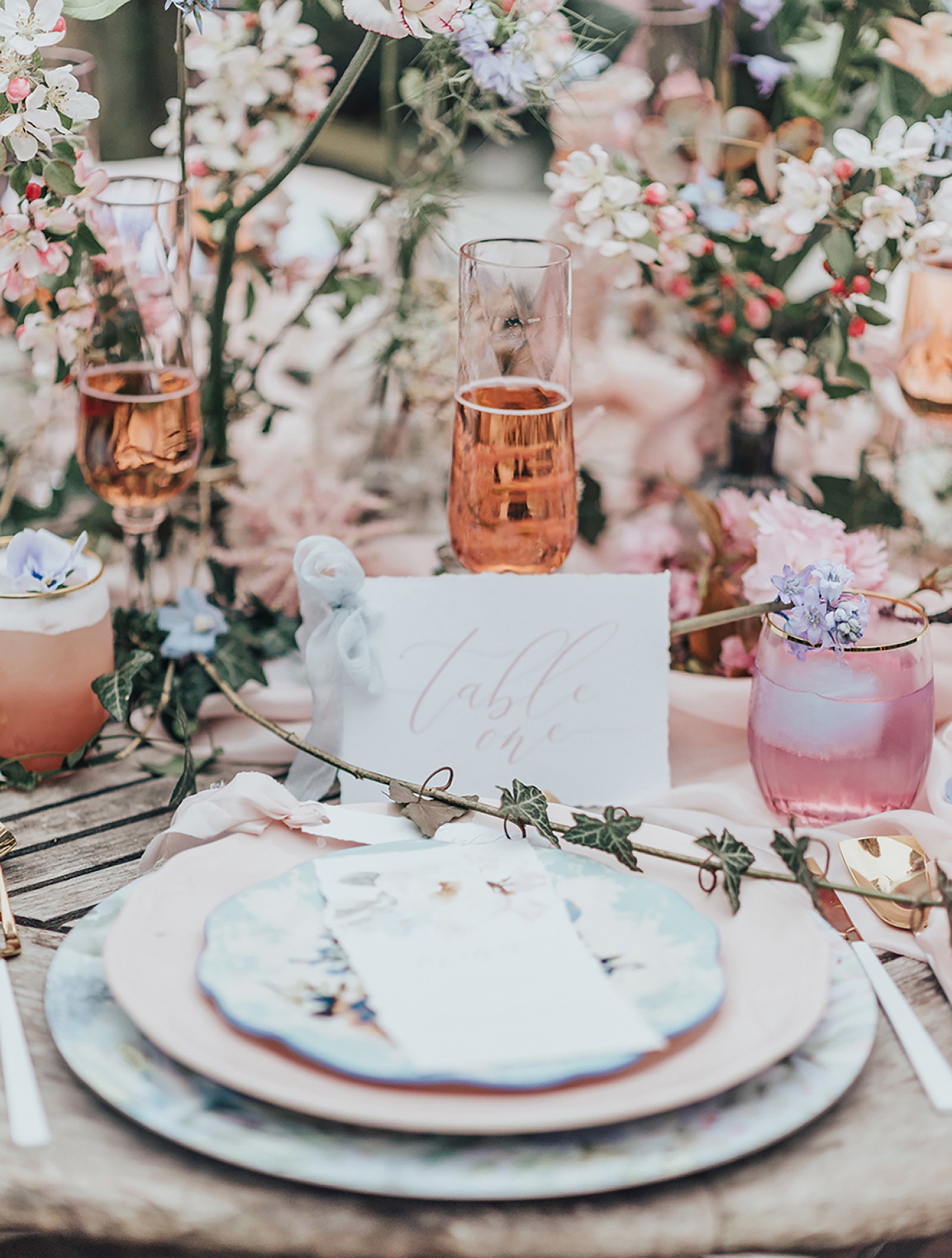 Pretty Whimsical Wedding Table Details | Garthmyl Hall | The Stars Inside | Rebecca Carpenter Photography