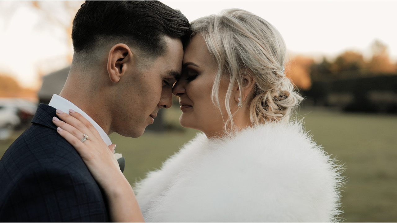 Intimate moment from Russell Kent Nicholls winter wedding video