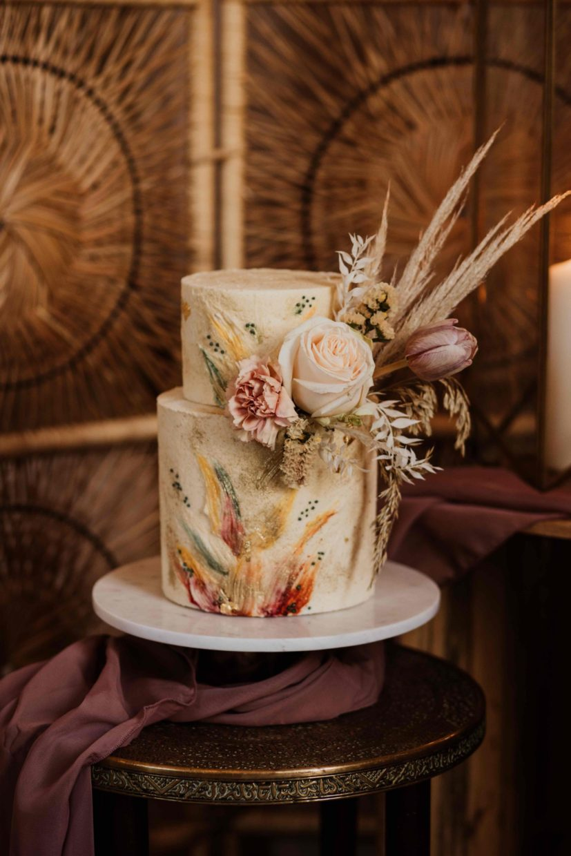 Modern Boho Buttercream Wedding Cake iwith brushstrokes of colour for a barn wedding