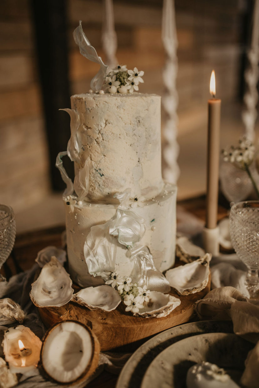2 Tier Textured Buttercream Cake for a relaxed beach wedding | Pierra G