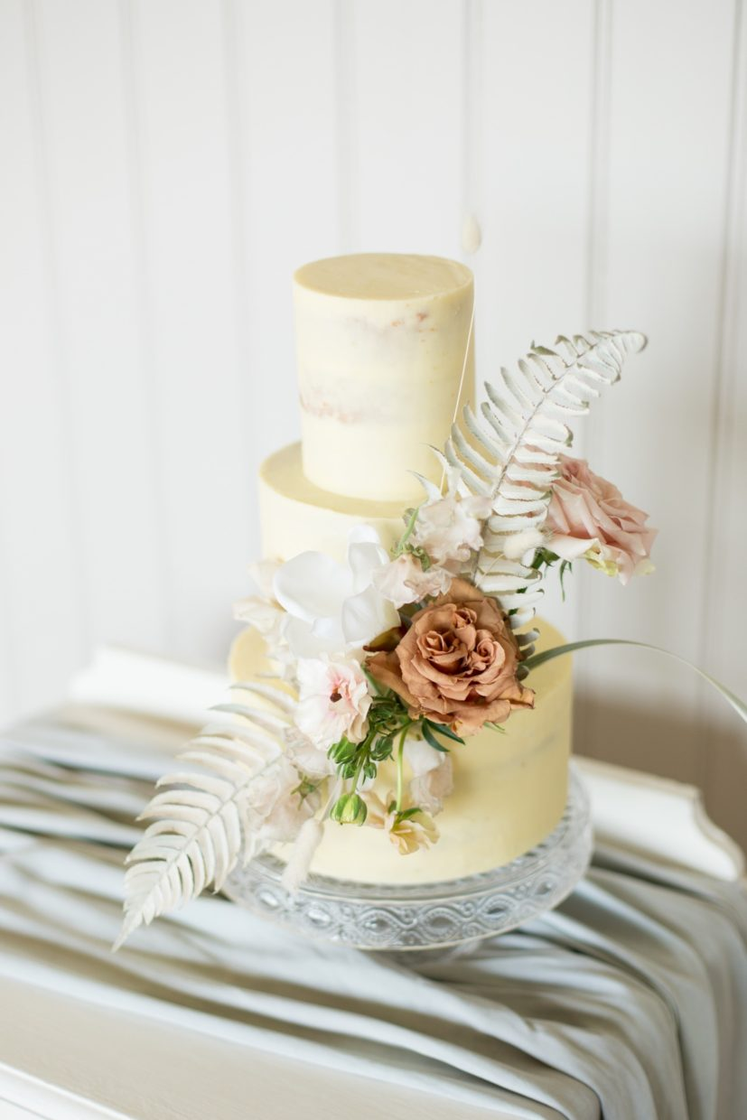 Modern Boho buttercream cake for a relaxed wedding at Primrose Hill Farm