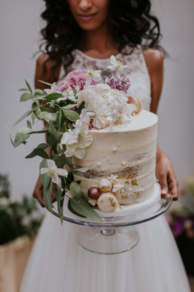 SPRING FLOWER BUTTERCREAM WEDDING CAKE FEATURED IN ROCK MY WEDDING