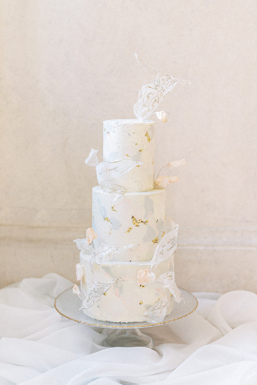 Marble buttercream wedding cake in ivory, peach and grey with hand calligraphed rice paper details | Sugar Plum Bakes | Cristina Ilao