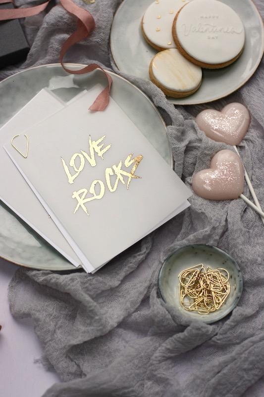 Modern stylish contemporary Valentines Biscuits. Sundown Paper Valentine's Card