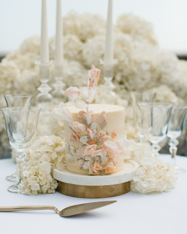 Buttercream wedding cake for 2 in ivory, peach, taupe and grey | Sugar Plum Bakes | Rebecca Searle
